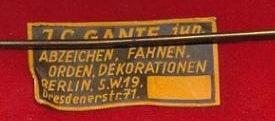 Stoffetikett J.G. Gante Berlin