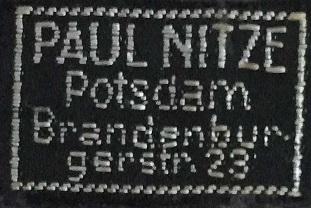 Stoffetikett P. Nitze Potsdam
