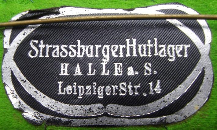 Bügeletikett Straßburger Hutlager Halle/S. nur bei diesem Hersteller bekannt