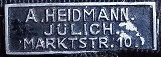 Blechschildchen Heidmann Jülich