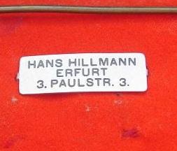 Stoffetikett H. Hillmann Erfurt