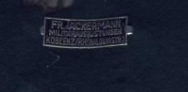 Blechschildchen Ackermann Koblenz