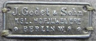 Godet & Sohn Blechschildchen bis ca. Anfang 1920er Jahre