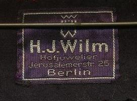 Stoffetikett H.J. Wilm Berlin