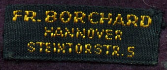 Stoffetikett Borchard Hannover