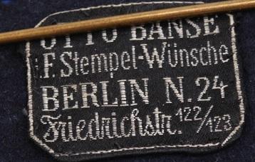 Stoffetikett Otto Banse Berlin