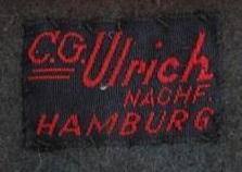 Stoffetikett C.G. Ulrich Nachfolger Hamburg