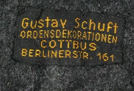 Stoffetikett G. Schuft Cottbus