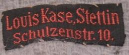 Stoffetikett Louis Kase Stettin