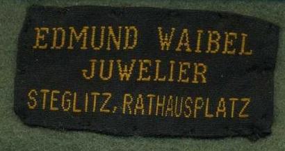 Stoffetikett E. Waibel Stieglitz