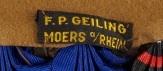 Stoffetikett F.P. Geiling, Moers am Rhein