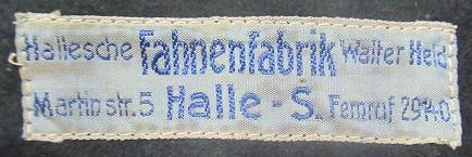 Stoffetikett Fahnenfabrik Halle a.d.Saale