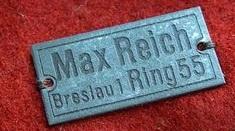 Blechschildchen Max Reich Breslau