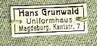 Plastik?etikett H. Grunwald Magdeburg