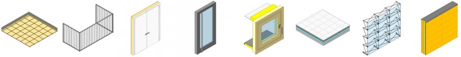 Figura 3: Representación gráfica de diferentes productos de construcción