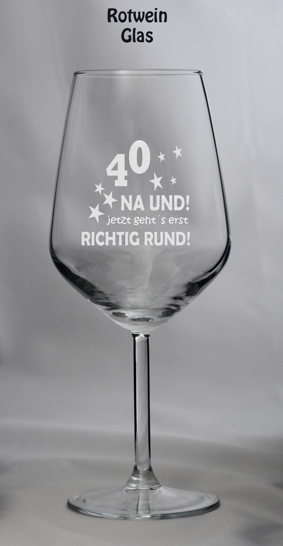 Geburtstagstrinkglas 40 na und