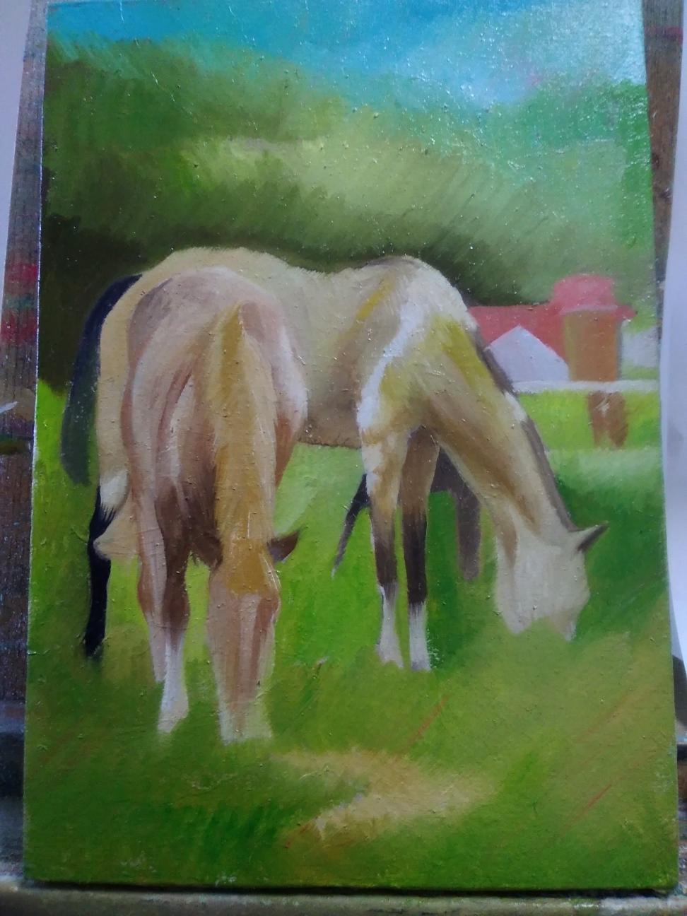 制作中の馬