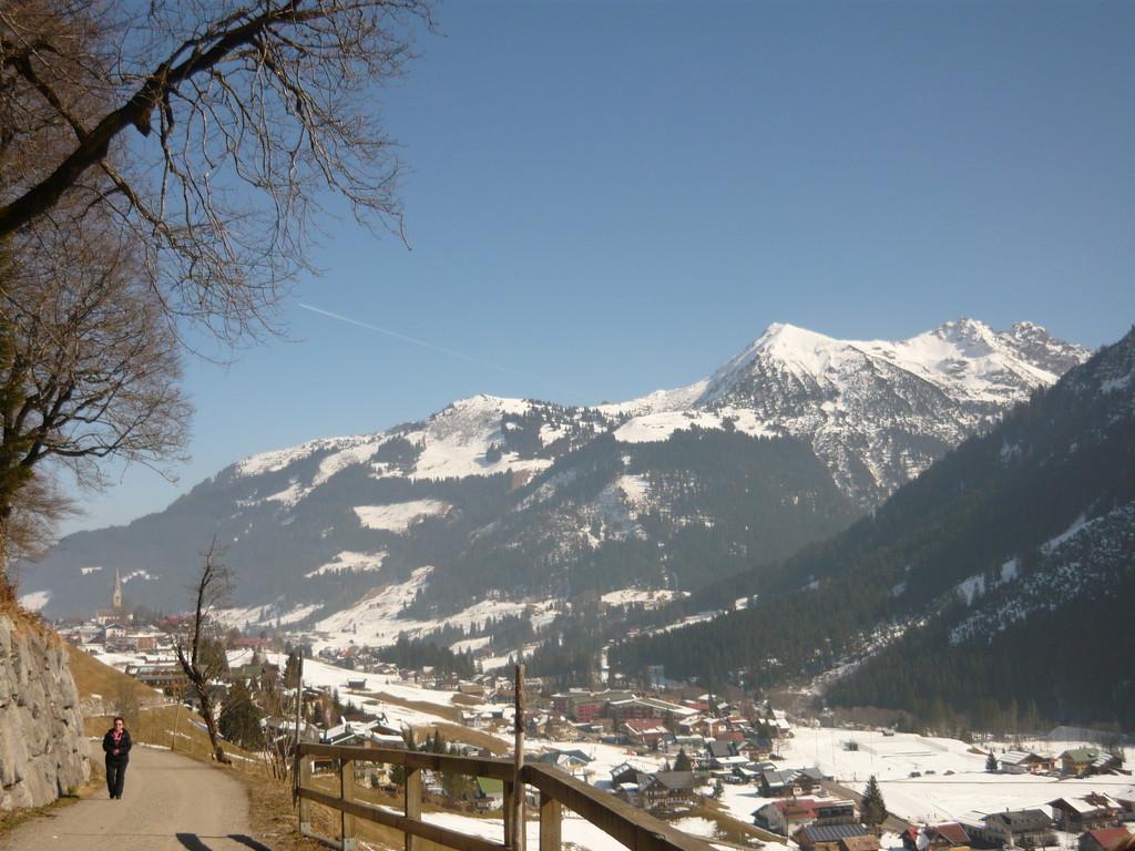 Blick vom Höhenweg auf Mittelberg und Bödmen - im Hintergrund die Kuhgehrenalpe und die Hammerspitze