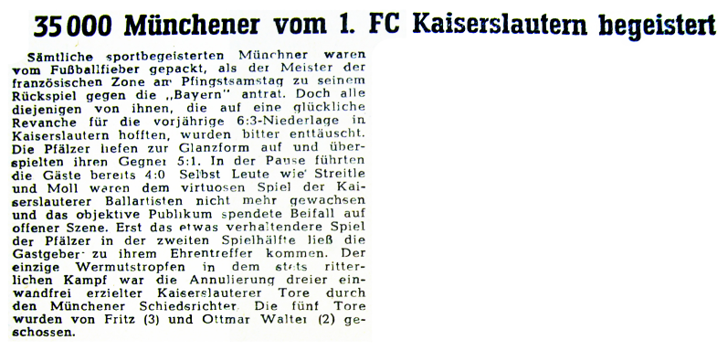Gastspiel der Roten Teufel in München 1948. Foto: Bildarchiv Eric Lindon (RHEINPFALZ, 19.05.1948)