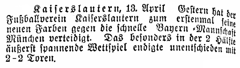 Ergebnisnotiz vom 13.04.1909. Foto: Bildarchiv Eric Lindon (Kaiserslauterer Stadtanzeiger, 13.04.1909)