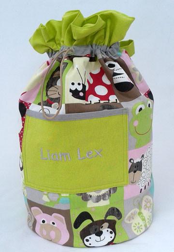 Spielsack mit aufgenähter Tasche, individuell personalisierbar