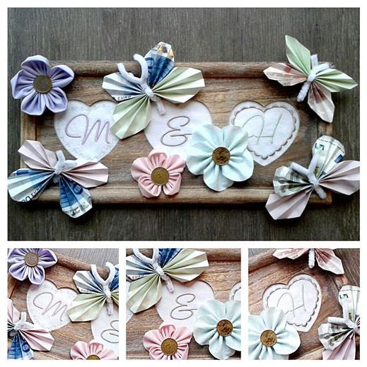 kreamix stoffblumen Geldgeschenk zur Hochzeit