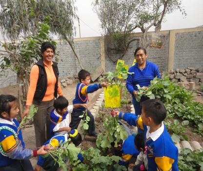 Enfants avec leurs professeurs dans le Potager Educatif de le collège Suecia de Año Nuevo de Comas (Lima - Pérou)