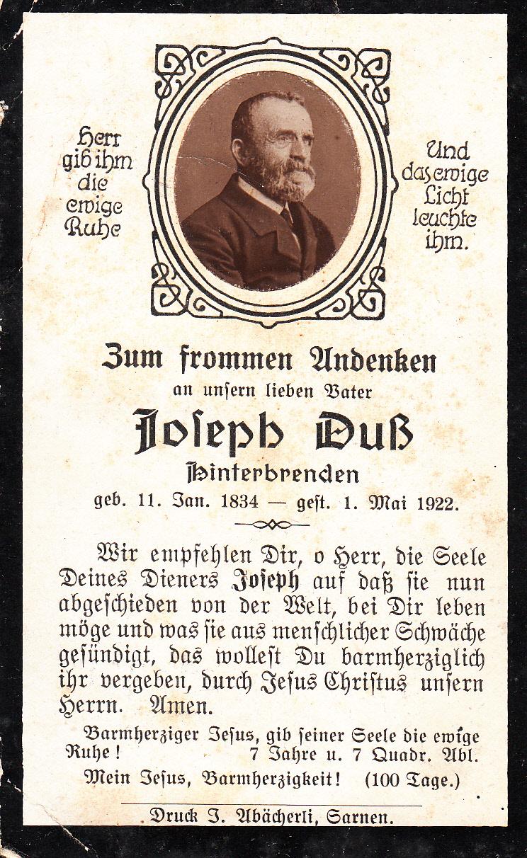 Vater Josef Duss *1834  +1922