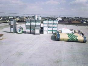 材料と施工前のゴムシート防水