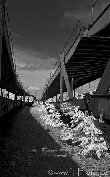 Infrarotfoto von alten Güterwagons auf dem stillgelegten Bahnhof Langenhagen/Pferdemarkt