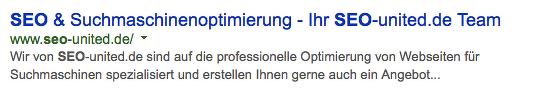 Keyword im Domainnamen und an erster Stelle - Beispiel seo-united.de