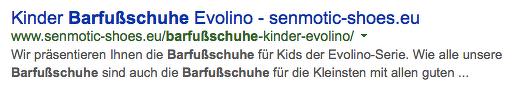 """Keyword innerhalb der URL integrieren: """"Barfußschuhe"""" - Bsp. senmotic-shoes.eu"""