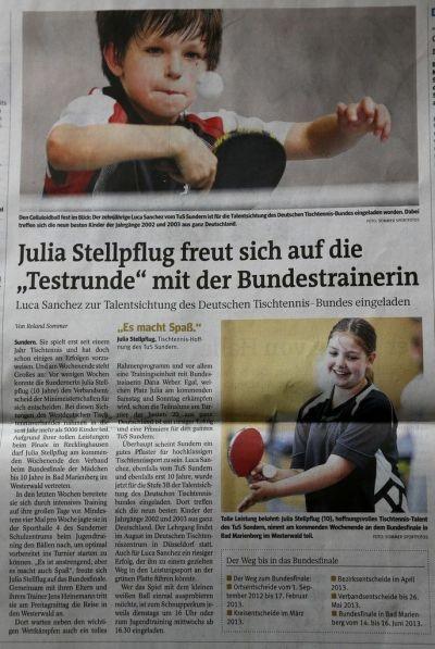 """Julia Stellpflug freut sich auf die """"Testrunde"""" mit der Bundestrainerin - Westfalenpost vom 13.6.2013"""