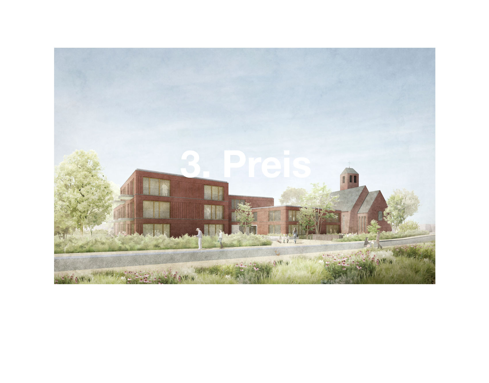 """05/2019<br>HERR & SCHNELL gewinnen in Zusammenarbeit mit Heyden und Hidde Architekten den 3. Preis<br>für ein Gemeindehaus mit KITA und einem Wohnungsbau in Hamburg Sülldorf.<br><br><a href=""""/suelldorf"""">Projekt</a>"""