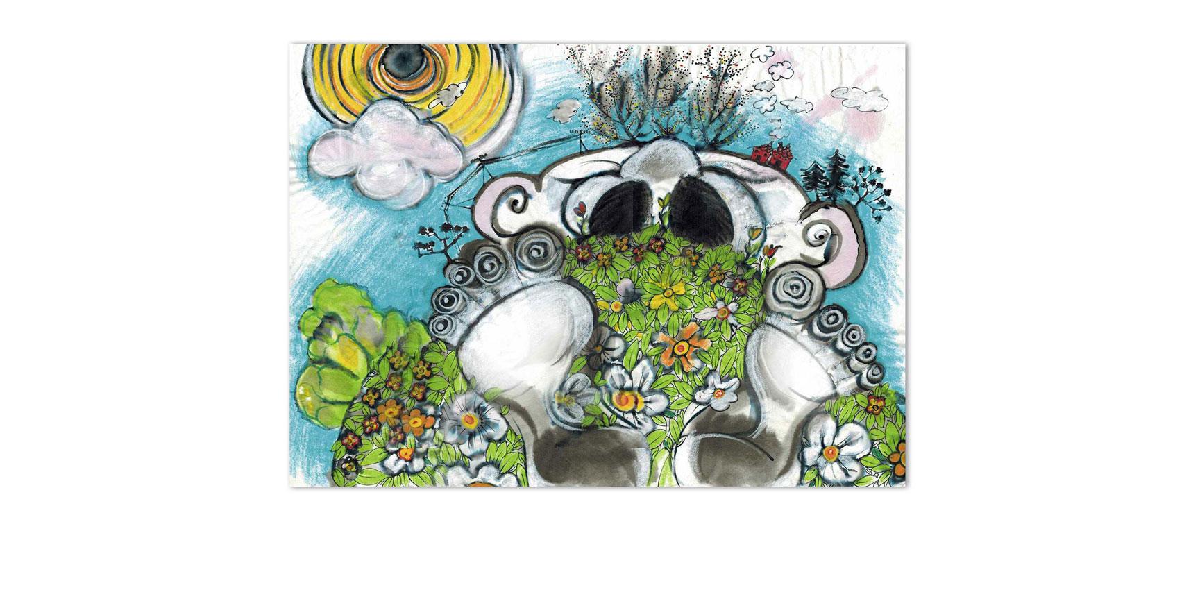 """""""Riesen-Wiese"""", Illustration, Tusche, Pastellfarbe, 46 x 32,5 cm"""