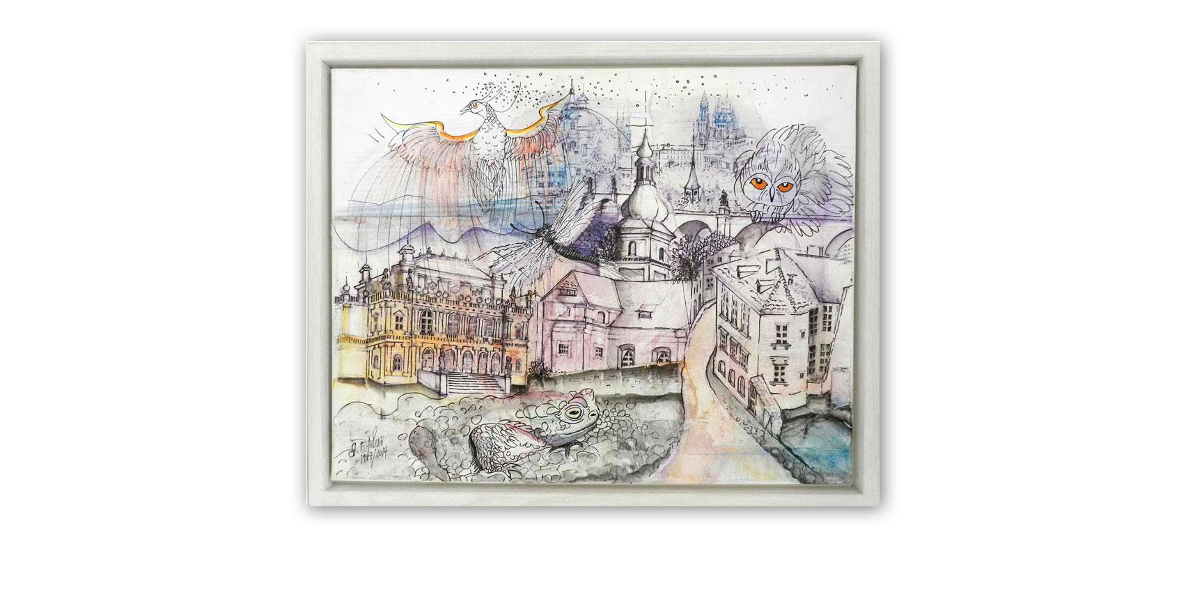 """""""Prag"""", Collage mit Skizzen, Fineliner, Aquarellfarbe, Tusche, 49,5 x 39,5 cm"""