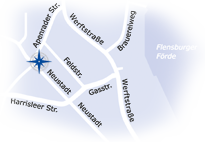 """Grafik: Button """"Anfahrt & Rotenplanung zu CHIRURGIE FLENSBURG NORD"""""""