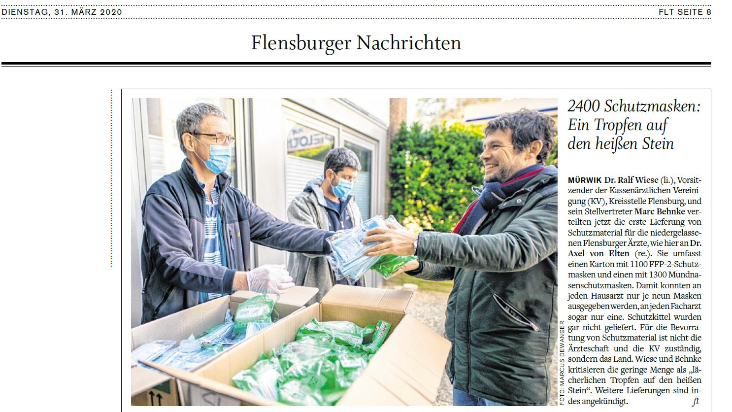 Grafik: Webscreen / Preview FLENSBURGER TAGEBLATT - Pressemeldung der Gemeinschaftspraxis CHIRURGIE FLENSBURG NORD