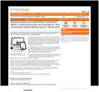 Grafik: Webscreen / Preview FIRMENPRESSE - Pressemeldung der Gemeinschaftspraxis CHIRURGIE FLENSBURG NORD