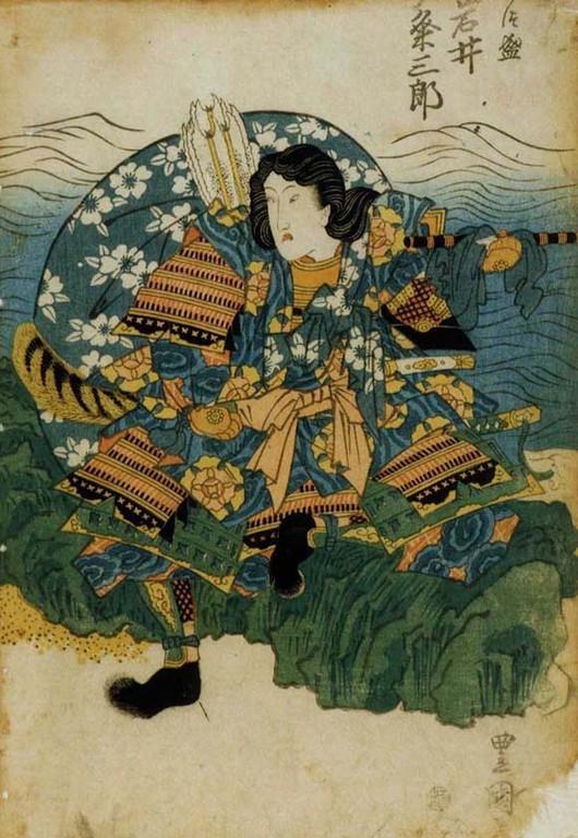 Iwai Kumesaburo II dans le rôle de Taira no Atsumori (1820).