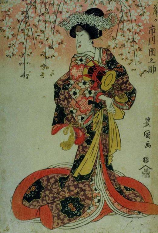 Utagawa Toyokuni I : l'acteur Ichikiwa Dannosuke III dans le rôle de Shizuka Gozen (ca. 1815).
