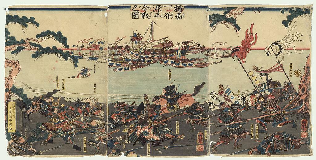 Kuniyoshi Utagawa : la bataille de Ichinotani (1845).