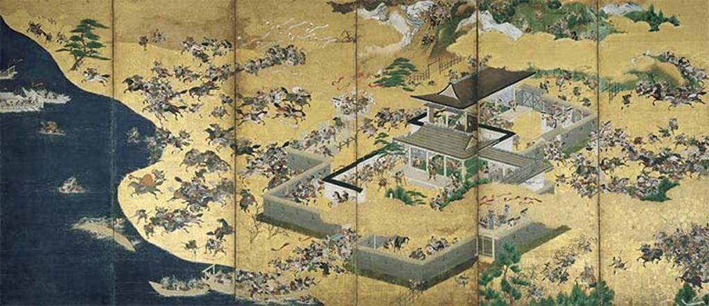 Yusetsu Kaiho (1598-1677) : panneau de paravent (byôbu) - épisode de la bataille de Ichinotani, détails