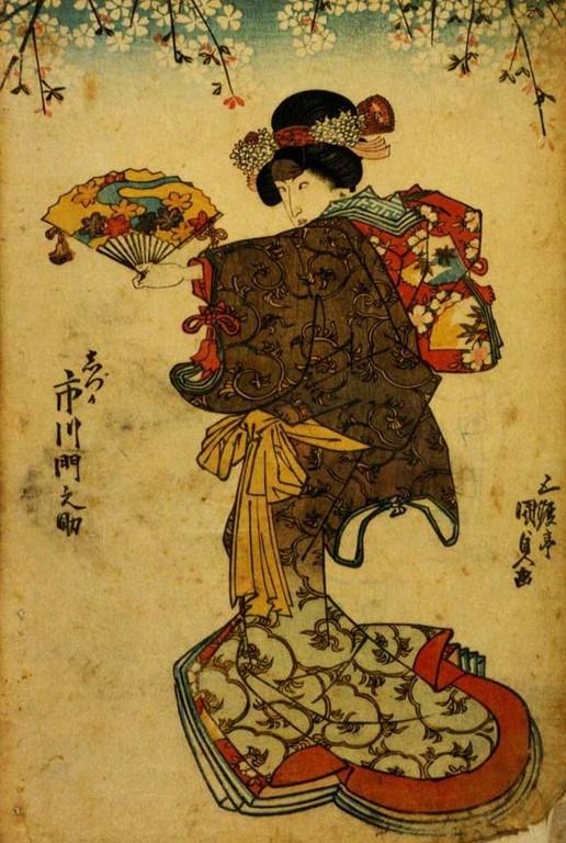 Utagawa Kunisada I : l'acteur Ichikawa Monnosuke III dans le rôle de Shizuka Gozen (ca. 1820-1830).