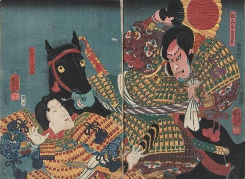 Kuniyoshi : Naozane (Arashi Kichisaburô III) tuant Atsumori (Onoe Kikujurô II) (1852)