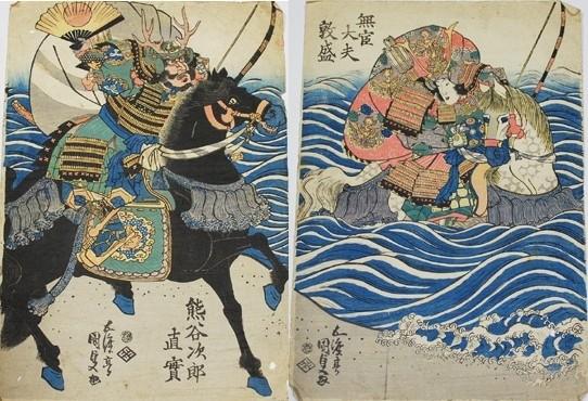 Utagawa Kunisada (Toyokuni III) : le combat de Naozane et Atsumori (1830)