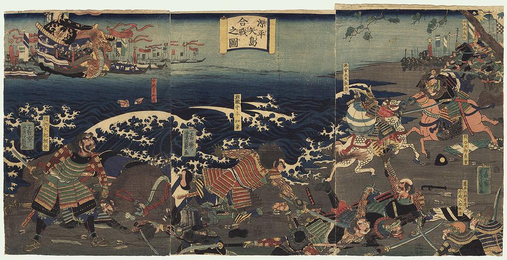 Yoshikazu Utagawa (actif 1850-1870) : panneau de droite, de g. à dr. : Atsumori et Naozane combattent à cheval, Yoshitsune est plus loin (sur un cheval noir).