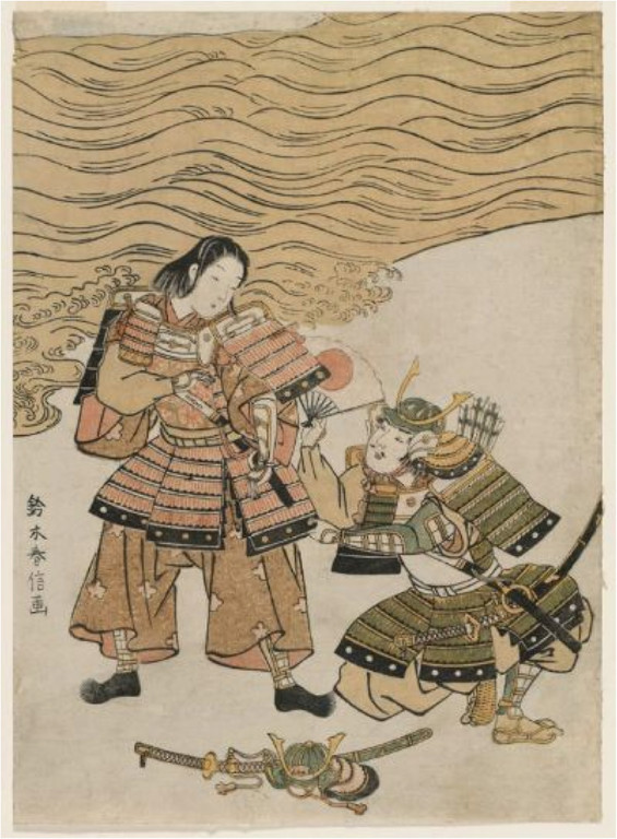 Harunobu Suzuki : Naozane et Atsumori à la bataille de Ichinotani (1767-1768).