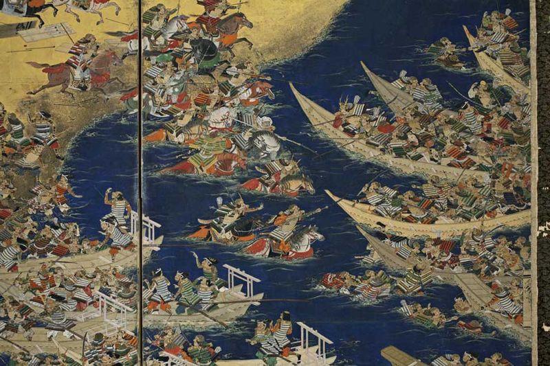 attribué à Kano Jinnojo (actif 1610-1640) : panneau de paravent, détails.
