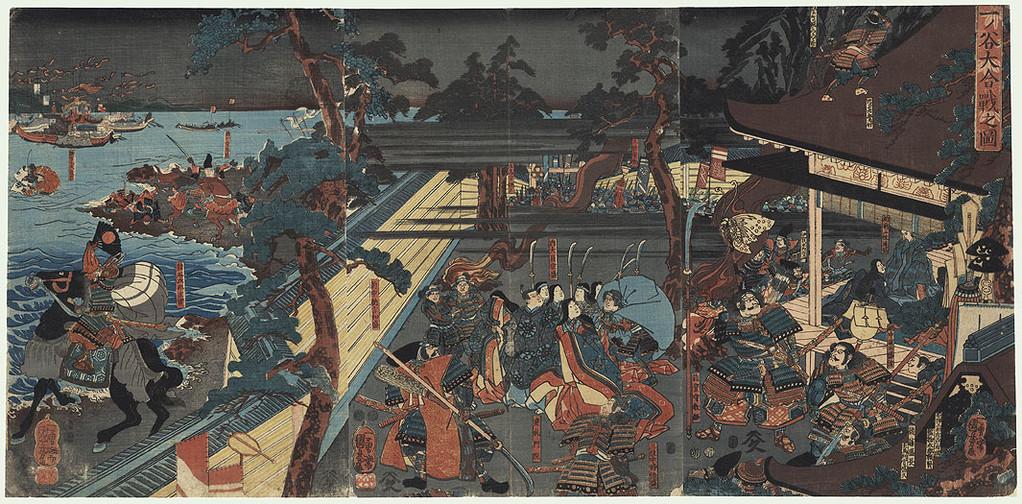 Kuniyoshi Utagawa : la bataille de Ichinotani (ca. 1849-1852).